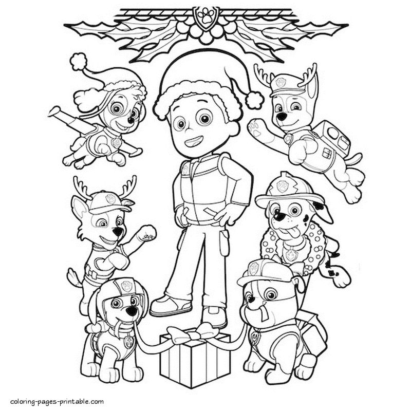 Paw Patrol Christmas Coloring Pages 1 - Coloring Sheets