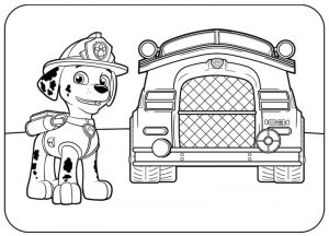 Paw patrol coloring pages marshalls vehicle