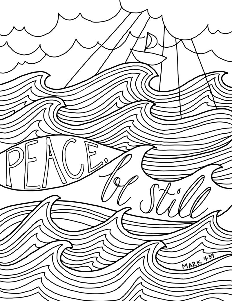 Peace Be Still Bible Coloring Page