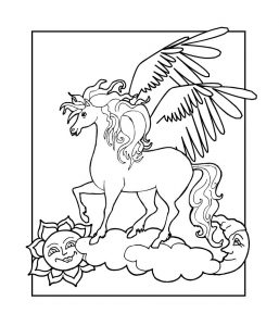 Pegasus coloring pages kids 001