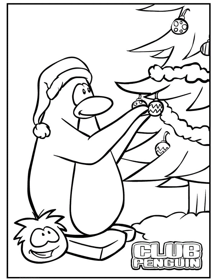 Penguin Christmas Coloring Pages