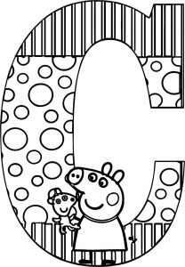 Peppa pig c letter coloring page