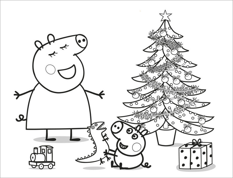 Peppa Pig Christmas Coloring Pages 3