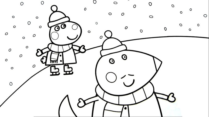 Peppa Pig Christmas Ice Skating Coloring Pages