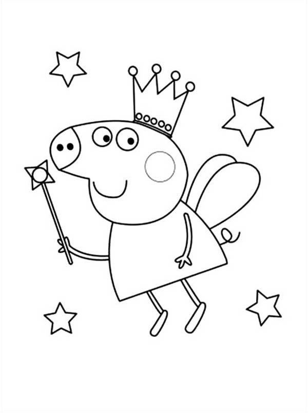 Peppa Pig Fairy Coloring Pages