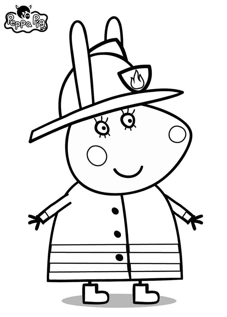 Peppa Pig Fireman Coloring Pages