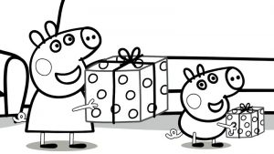 Peppa pig presents coloring pages