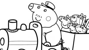 Peppa pig train ride coloring page