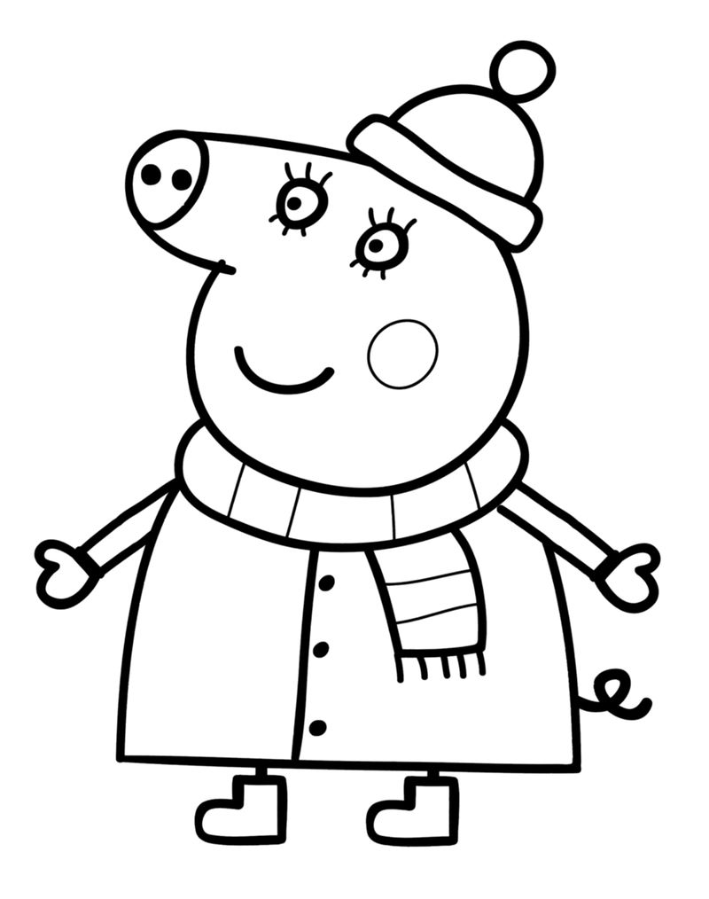 Peppa Pig Winter Coloring Pages