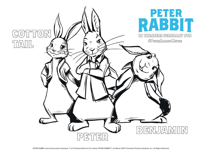 Peter Rabbit Movie Characters To Color