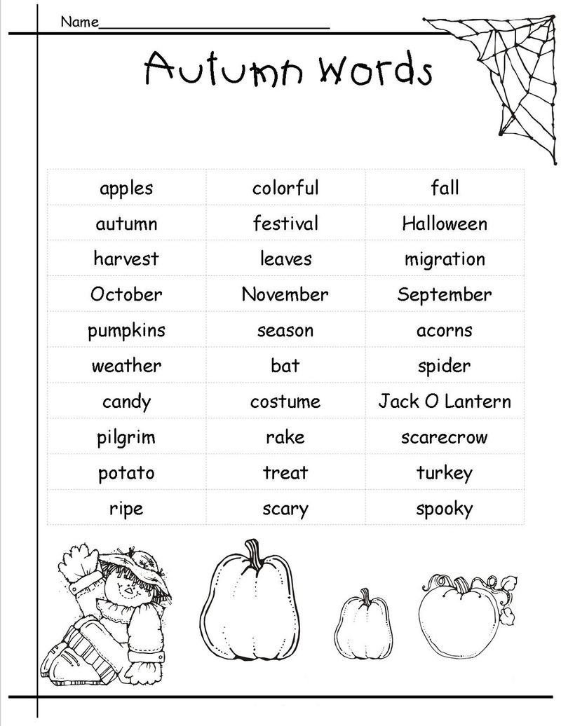 Pictionary Words For Kids For Autumn