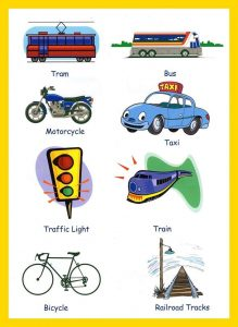 Pictionary words for kids for transportations
