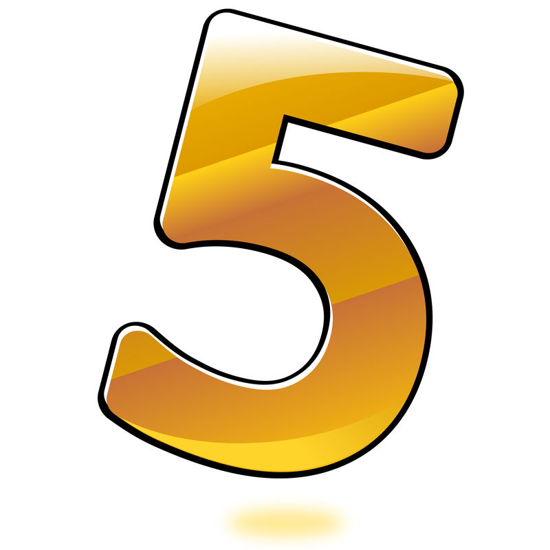 Picture Of Number 5 Golden Color