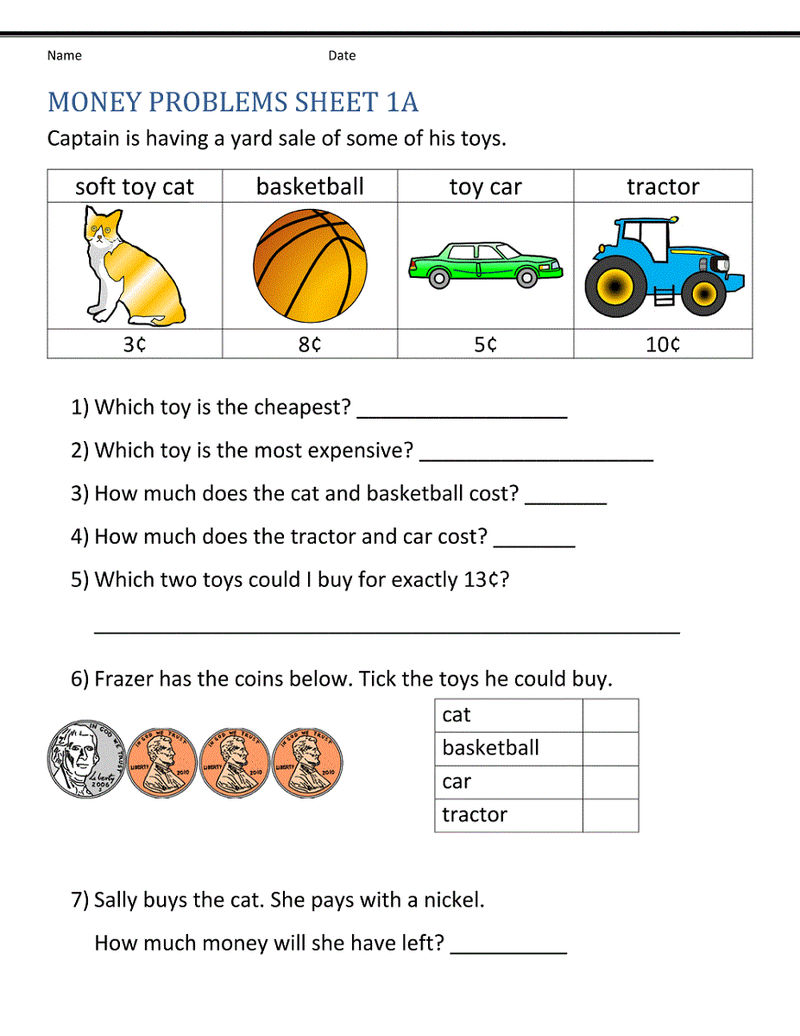 Picture Word Problems For 1st Grade