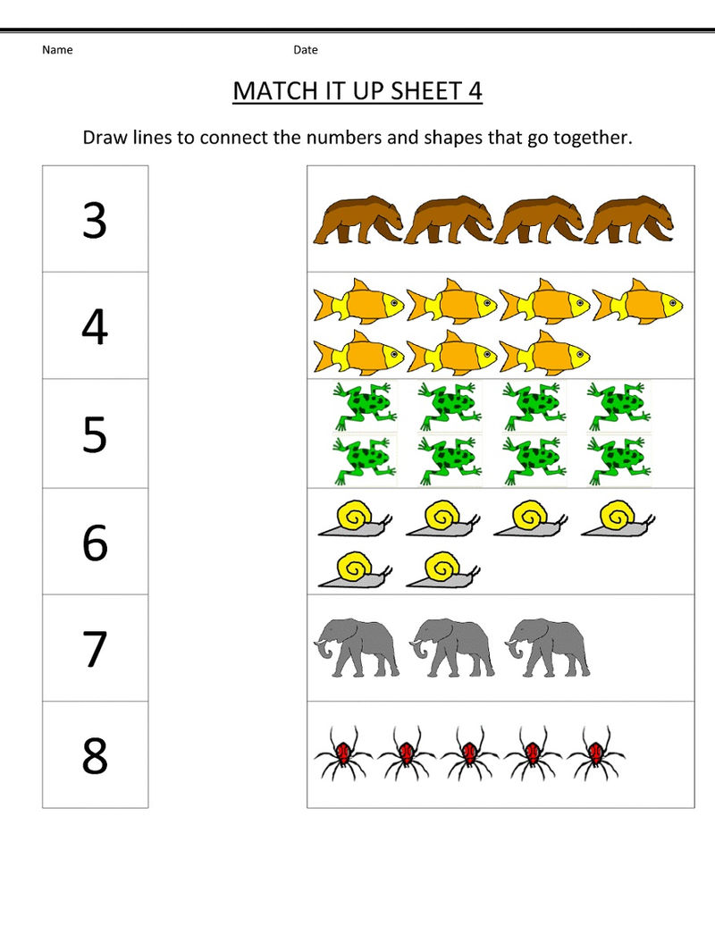 Pictures Of Math Worksheets Matching