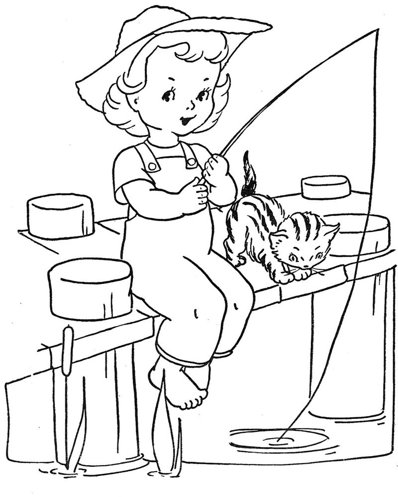 Pier Fishing Coloring Pages 001