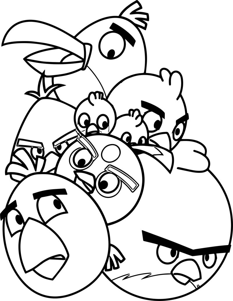 Pile Of Angry Birds Coloring Page