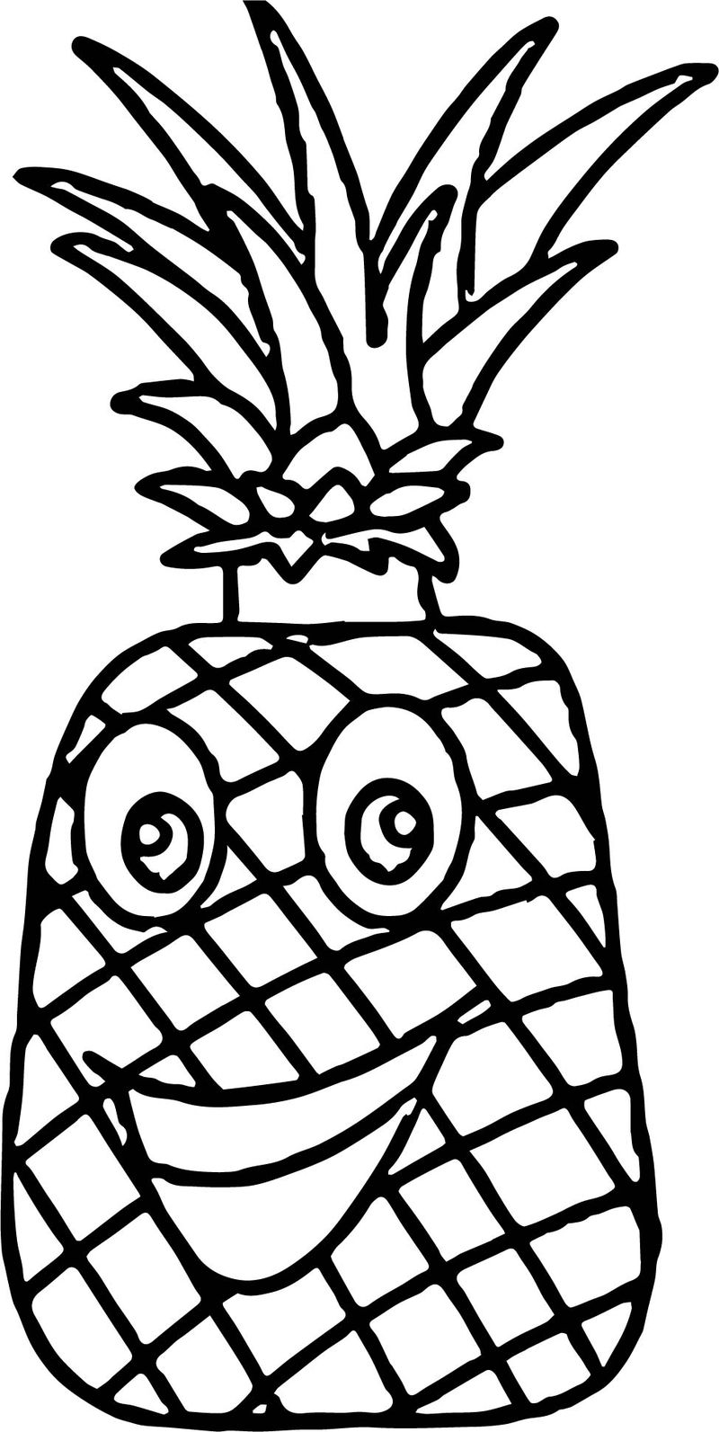 Pineapple Characters Cartoon Coloring Page - Coloring Sheets