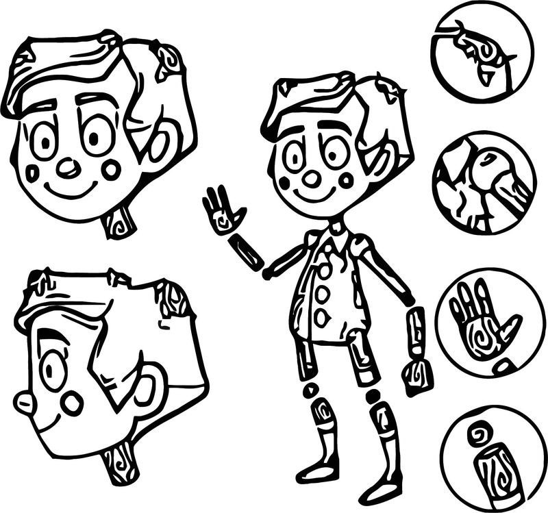 Pinocchio Character Design Coloring Page 001