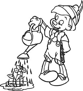 Pinocchio flowers to water coloring pages