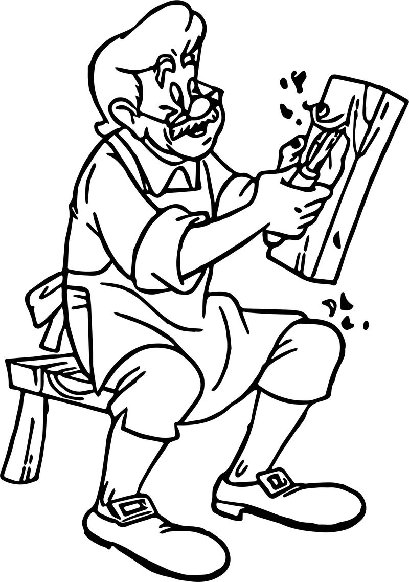 Pinocchio Gepetto Firewood Shave Coloring Page