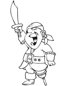 Pirate with a sword coloring sheet