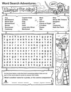 Pirate word search printable 001