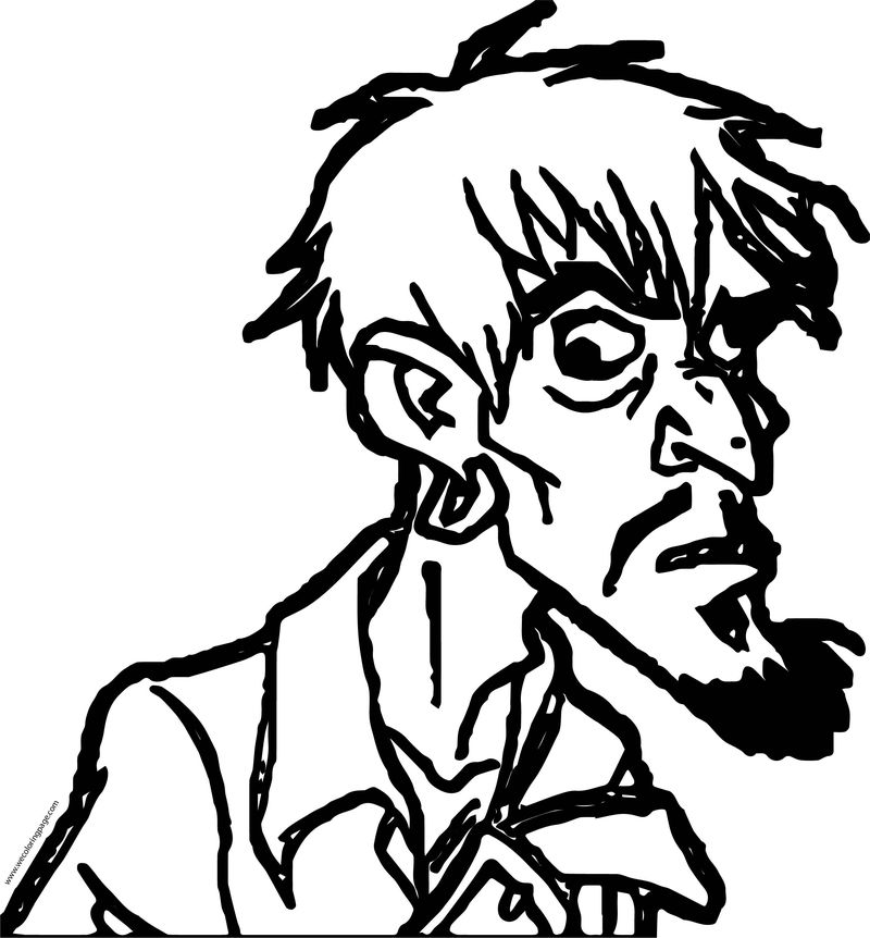 Pirates Of The Caribbean Man Character Crazy Face Coloring Page