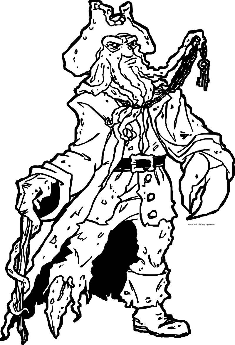Pirates Of The Caribbean Man Character Dave Jones Walking Coloring Page