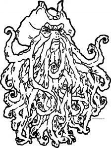 Pirates of the caribbean man character davy jones coloring page
