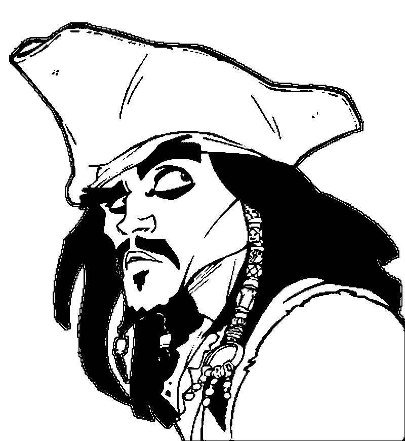 Pirates Of The Caribbean Man Character Jack Sparrow Face Coloring Page