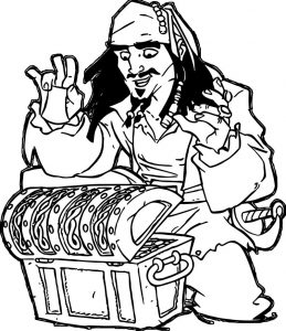 Pirates of the caribbean man character jack sparrow treasure coloring page