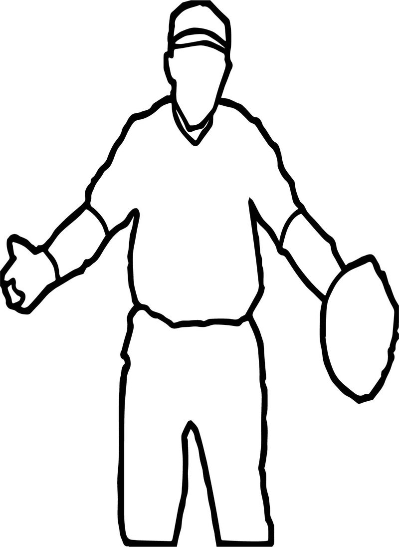 Playing Baseball Outline Coloring Page
