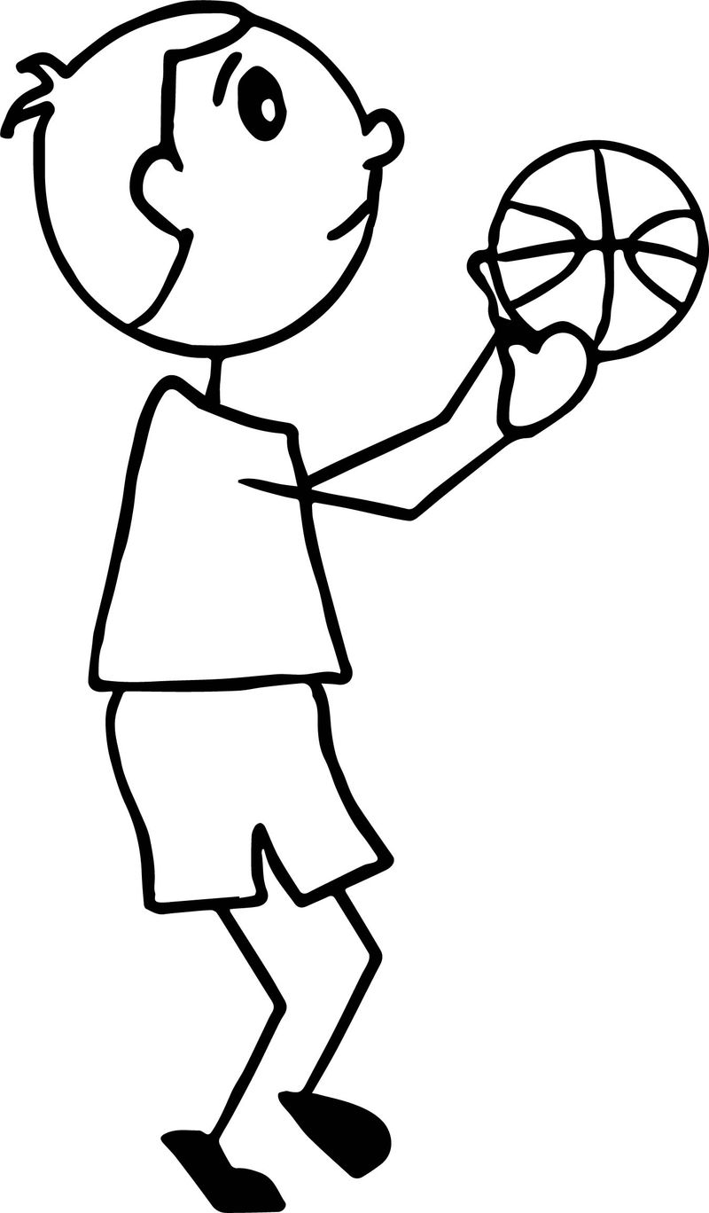 Playing Basketball Kid Side View Coloring Page