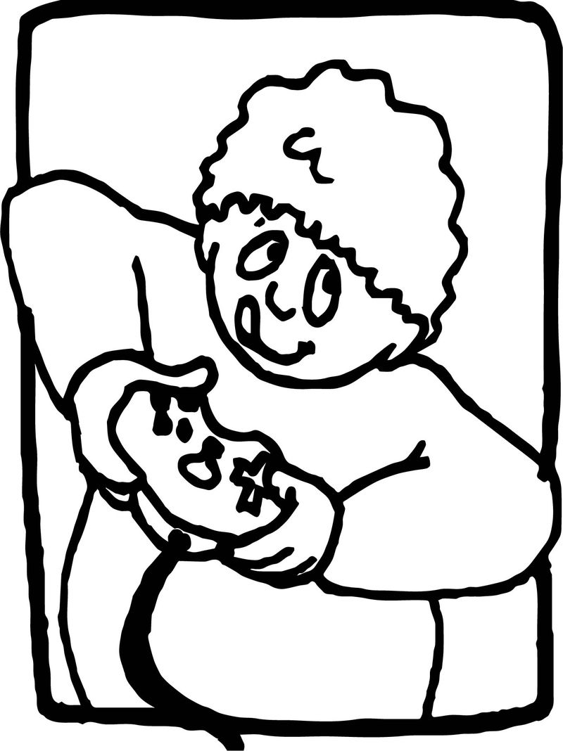Playing Computer Games Boy Activity Coloring Page