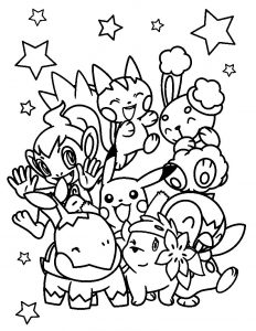 Pokemon characters coloring page