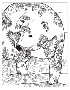 Polar bear winter coloring pages for adults