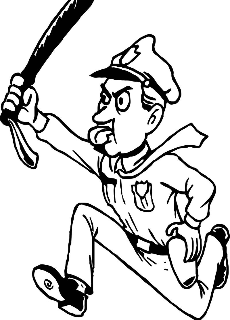 Policeman Running Coloring Page
