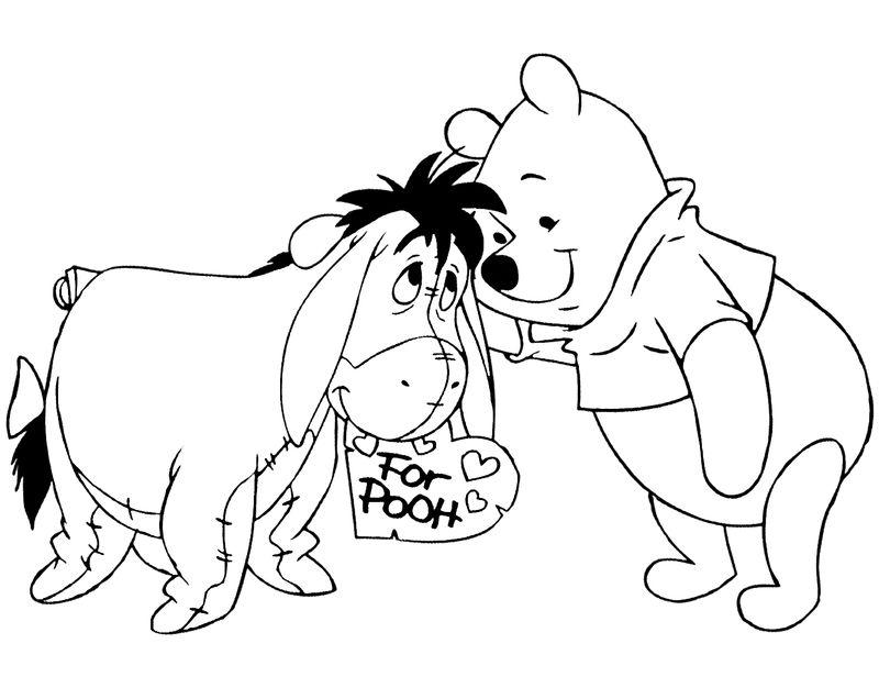 Pooh And Eeyore Disney Valentines Coloring Pages