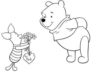 Pooh and piglet valentines disney coloring pages