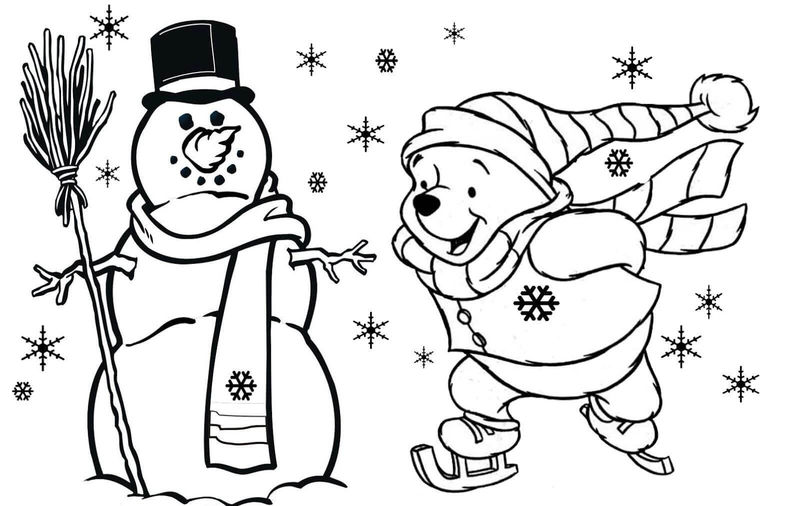 Pooh And Snowman Winter Coloring Page