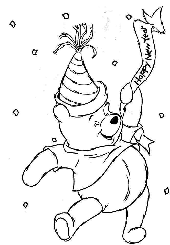 Pooh Bear Happy New Year Coloring Pages