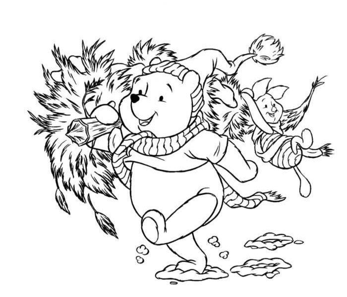 Poohs Tree Disney Christmas Coloring Pages E1511885534905