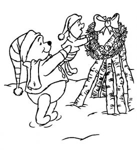 Poohs wreath disney christmas coloring pages
