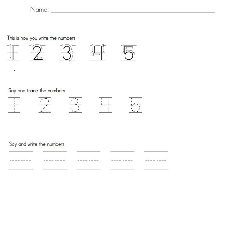 Practice Writing Numbers Preschool 1 5 Printable 001