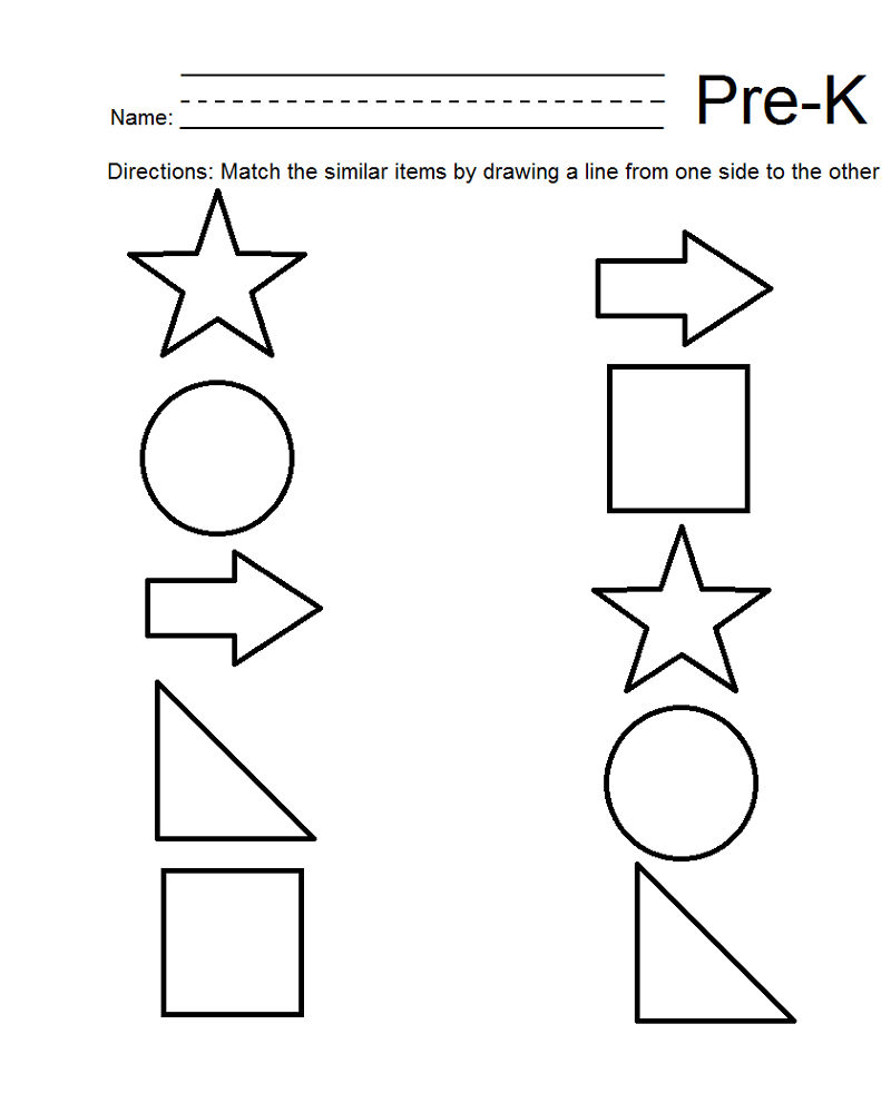 Pre K Math Worksheets Shape