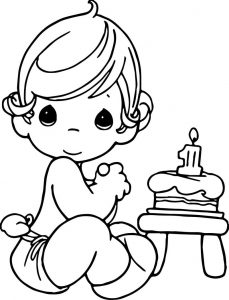Precious moments happy birthday coloring page