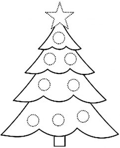 Preschool christmas tree coloring page
