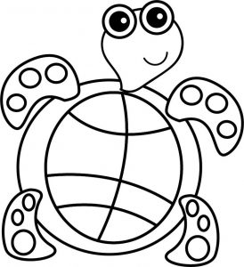 Preschool sea turtle coloring page