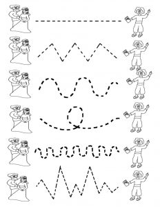 Preschool tracing worksheets matching